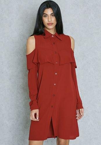 cold shoulder burgundy sweater dress