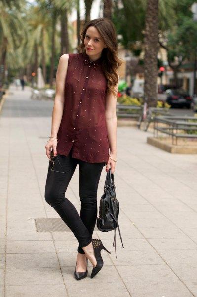 burgundy chiffon pleated shirt black chinos