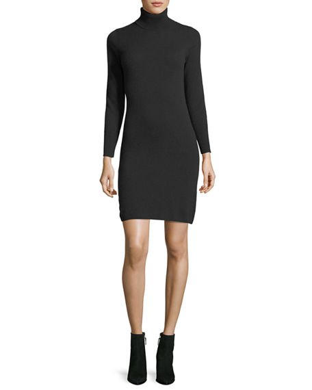 black turtleneck cashmere mini dress leather ankle