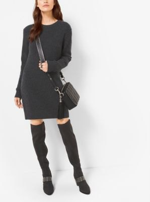 black cashmere sweater mini dress high boots