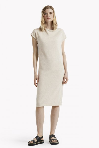 white midi cashmere dress black sandals