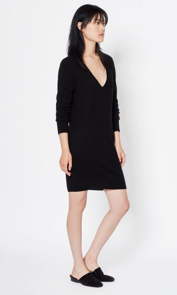 long sleeve black deep v cashmere mini dress