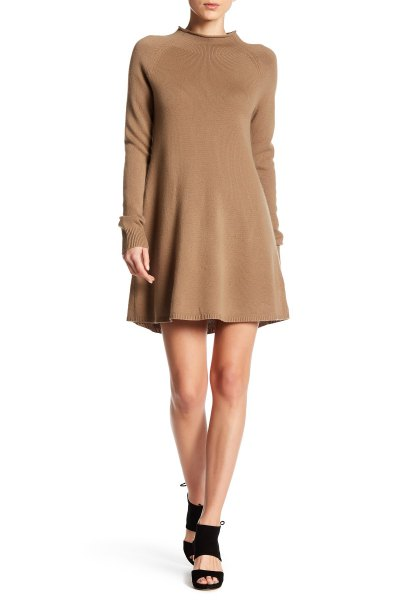 camel flared mini cashmere dress