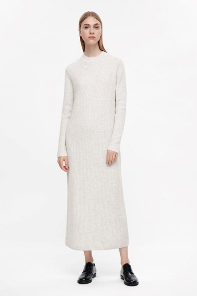 white mock neck maxi cashmere dress black loafers