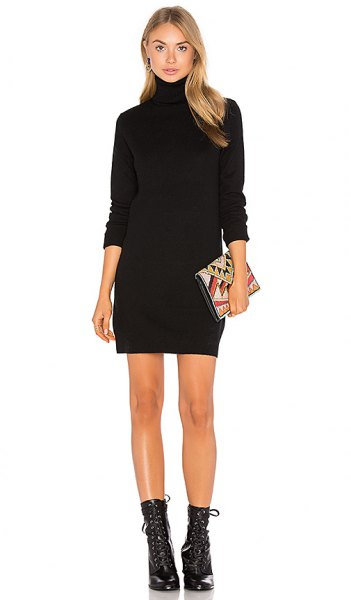 black turtleneck mini sweater dress mid calf lacing boots
