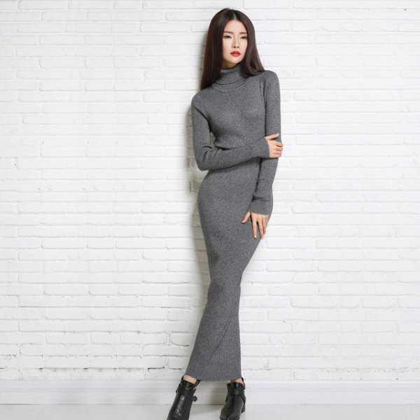gray turtleneck maxi dress black leather shoes