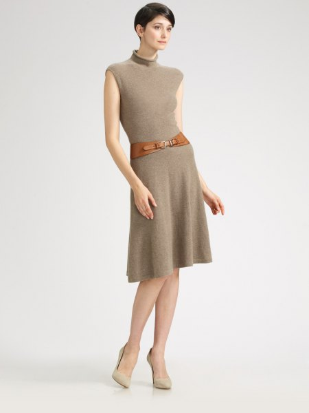 green mock neck belt puffed cashmere dress