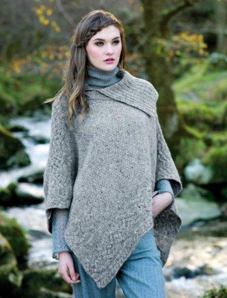 light heather gray wool poncho over rib knit sweater
