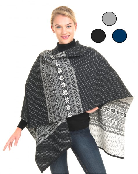 stem printed gray and white wool poncho