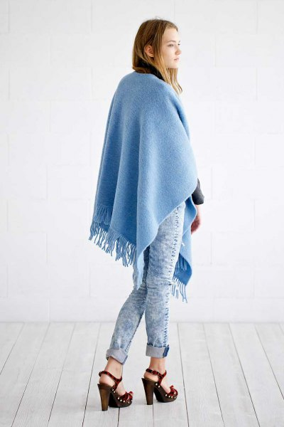 sky blue fringed poncho skinny jeans