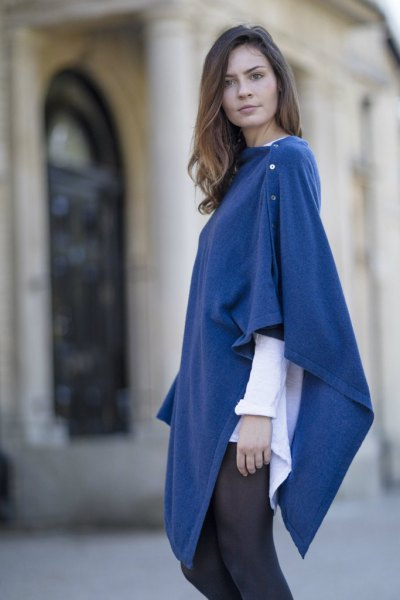 blue buttoned wool poncho white shirt