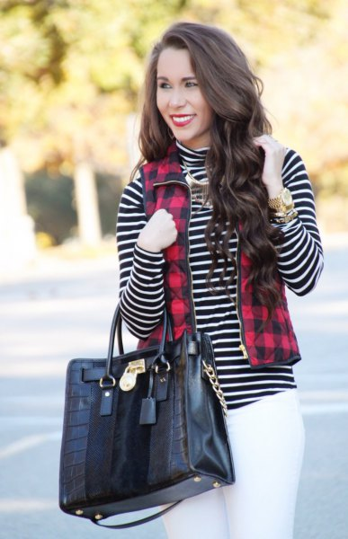 red and black plated full zipper vest black and white striped mock neck top
