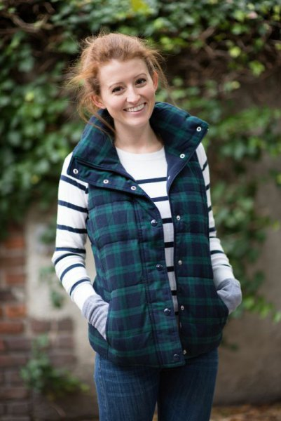 gray and navy checkered vest white and navy striped sweater