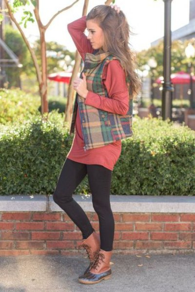 crepe and green checkered vest over t-shirt dress