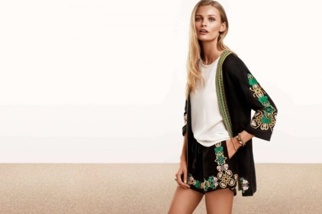 two-piece set of black embroidered cardigan and shorts