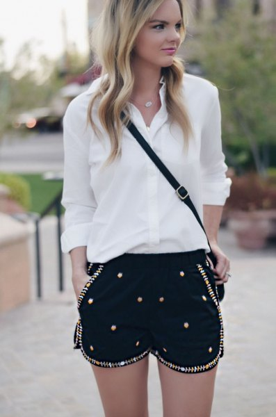 white chiffon button up shirt black sequin embroidered shorts