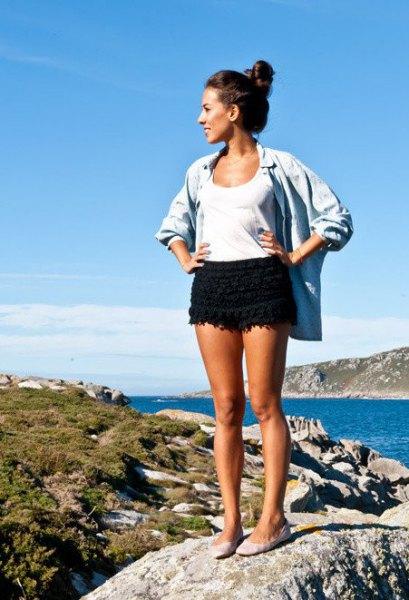 black crochet shorts oversized chambray shirt