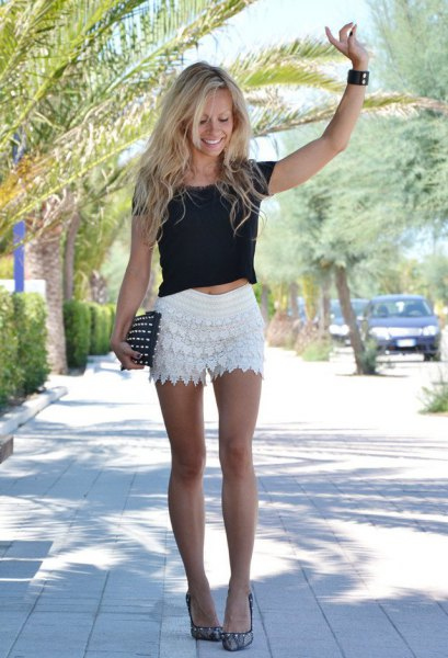 white crocheted shorts black cropped t-shirt