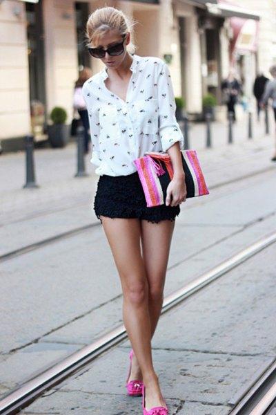 black crochet mini-shorts white printed button up shirt