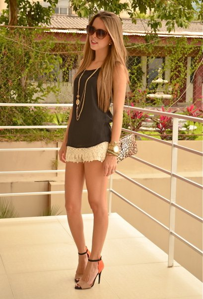 white shorts gray western heels