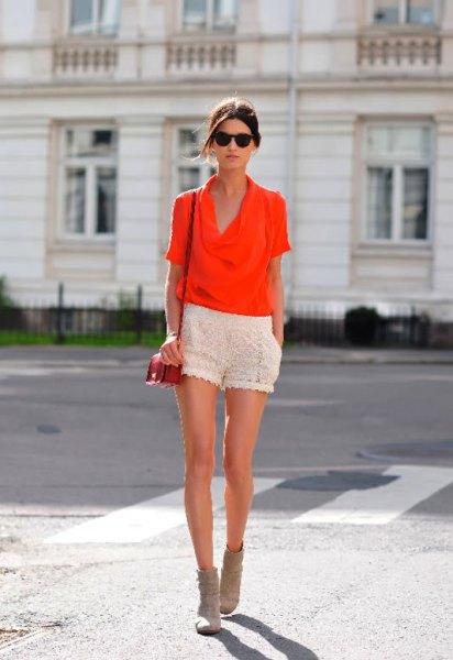 orange cabbage blouse white crochet shorts
