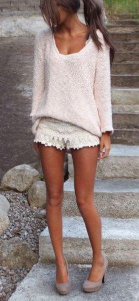 crocheted shorts white v-neck lace shirt