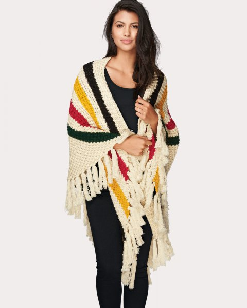 multicolored striped knit fringes with all black outfit