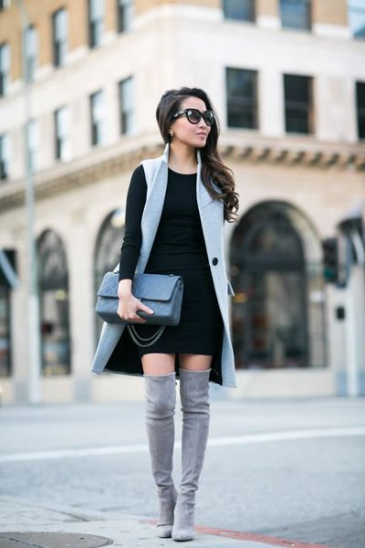 gray long sleeve vest black shift dress