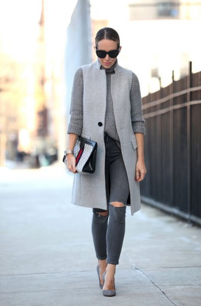 light gray long-sleeved, chunky knit sweater