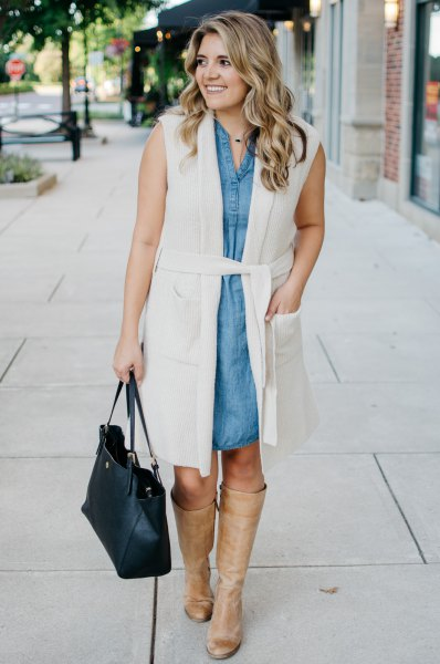 white belt long sleeveless vest chambray shirt dress