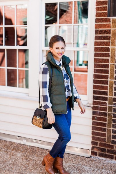 olive quilted vest navy blue and white plaid boyfriend shirt