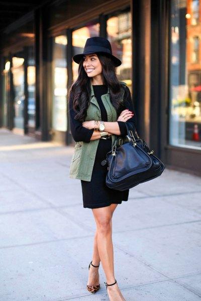 black long-sleeve shift dress felt hat