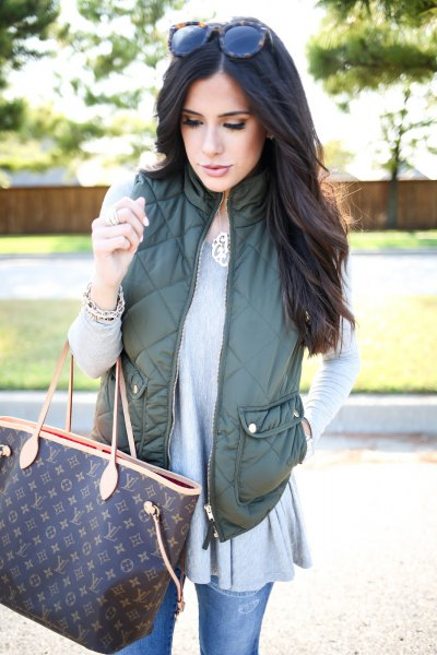 olive green western gray tunic top