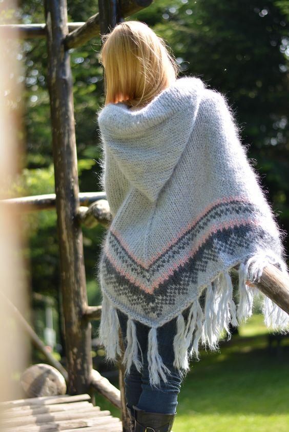 hood poncho knit