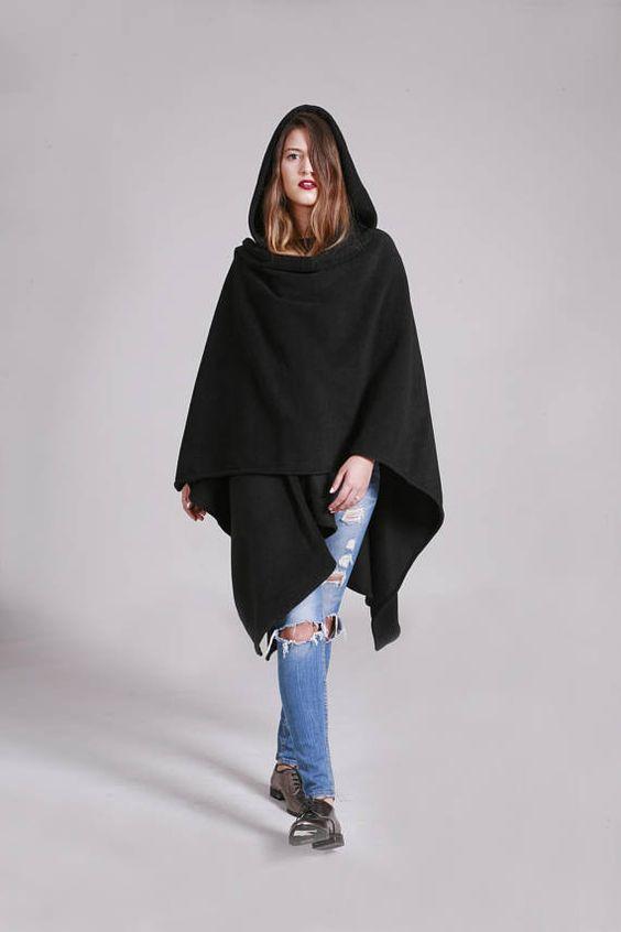 hood poncho black