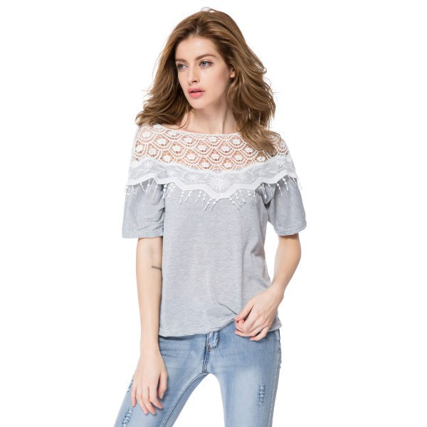 gray t-shirt with lace and fringe details