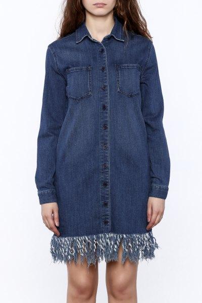 dark blue denim fringe dress