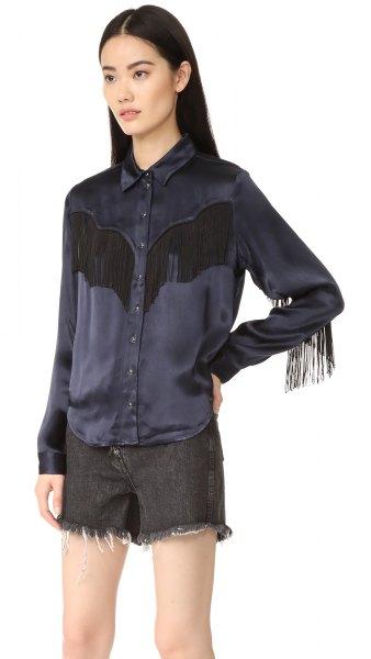 black button up silk shirt shorts