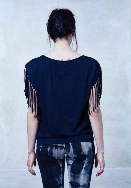 black striped sleeveless print skinny trousers