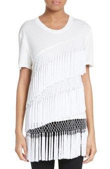 white crew neck t-shirt multiple layers fringes