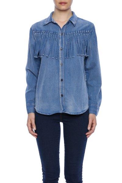 chambray french shirt dark blue skinny jeans