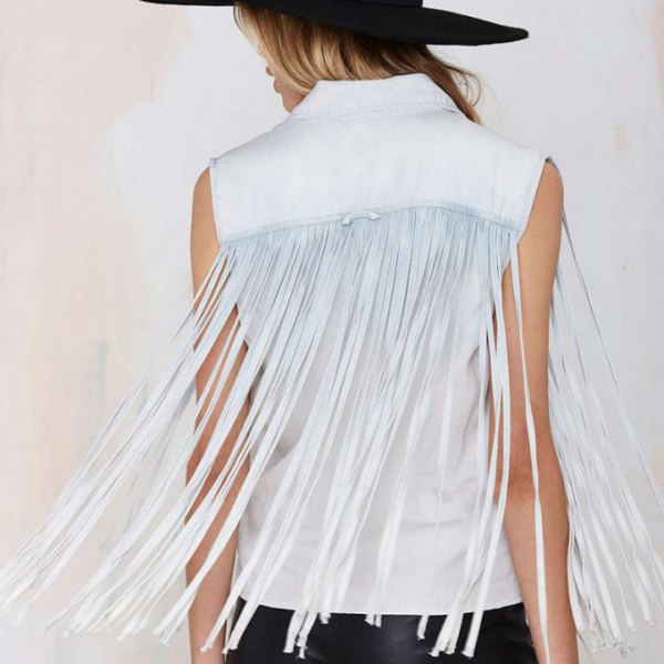 white sleeveless french shirt black felt hat