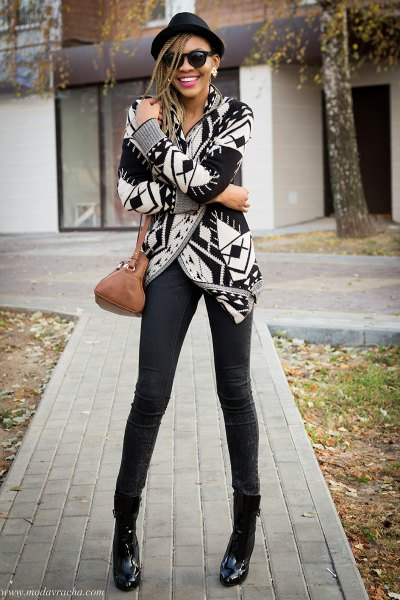 black and white printed gowns with soft jeans