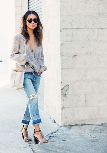 gray knitted wrap cardigan cropped boyfriend jeans
