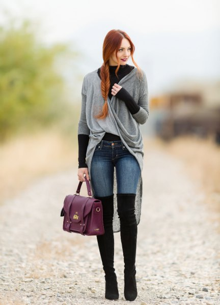 gray sweater with low low wrap cardigan black