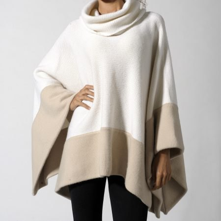white and pink turtleneck cashmere poncho