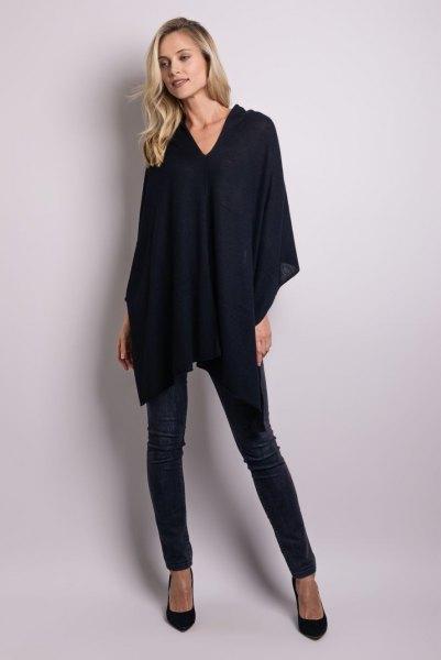 black cashmere poncho skinny jeans
