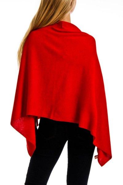 light red poncho black skinny jeans