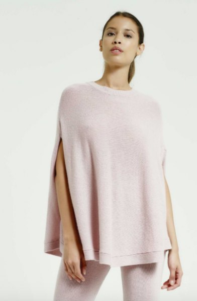light pink cashmere poncho white skinny jeans