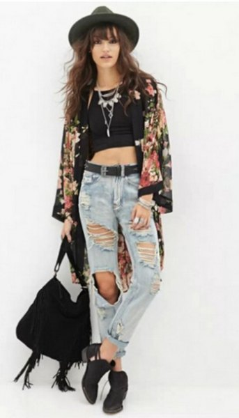 black floral chiffon cardigan harvest top ripped boyfriend jeans